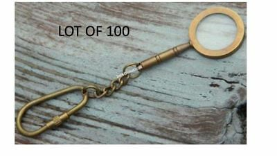 Lot Of 100 Brass Antique Maritime Magnifier Glass Key Chain & Antique Finish