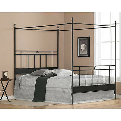 Black Metal Queen Size Canopy Bed - Headboard Footboard Frame - SHIPS FREE