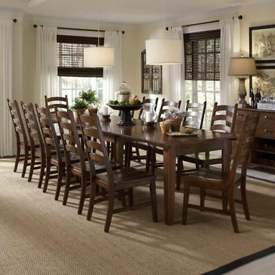 13 Piece Dining Set Wood Rustic Amber Brown Finish Extending Table 12 Chairs NEW