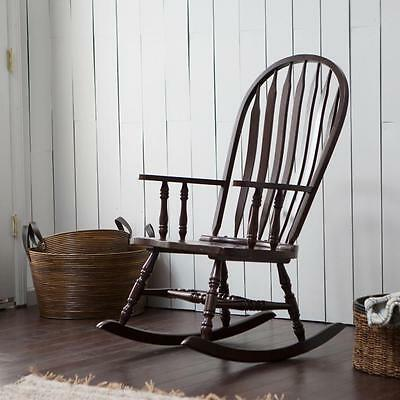 Espresso Wood Rocking Chair Windsor Spindle Slat Back Curved Armrest Nursery