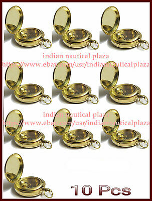 Lot of 10 Pc Nautical Maritime Solid Brass Push Button Pocket & Locket Compass