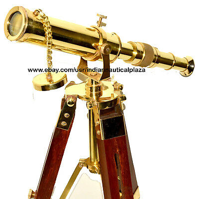 Antique Solid Brass Marine Navy Nautical Telescope with Wooden Tripod Stand