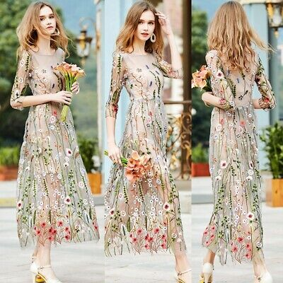 Ladies Girl Spring Summer New Long Dress Fairy Princess Floral Embroidered Dress