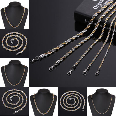 """Fashion Men Stainless Steel Chain Figaro Curb Twist Link Necklace Jewelry 21.62"""""""