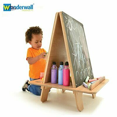 Wonderwall EYFS Kids Wooden Art Easel Whiteboard Chalkboard Double Sided Drawing