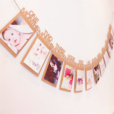 1st Birthday Party 12 Months Photo Garland Bunting Banner Baby Shower Decoration