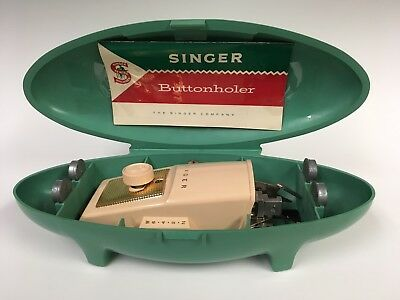 Vintage 1960's Singer Buttonholer With Green Case Featherweight 5 Attachments
