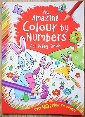 Colour by Numbers for Kids Quality Book Children Animal Keep Busy Puzzle Fun NEW