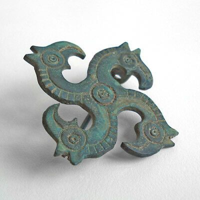 Ancient Roman zoomorphic bronze сlasp. Fibula. Solar symbol.