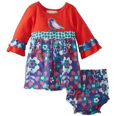 Rare Editions Baby Girls' Print Dress, Red/Turquoise, 18 Months