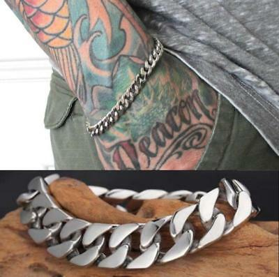 Mens Women Silver Stainless Steel Bracelet Punk Wristband Bangle Cuff Chain Link