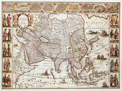 VINTAGE MAP PRINT FOR FRAMING OF AN ANTIQUE 1618  MAP OF ASIA by WILLEM BLAEU