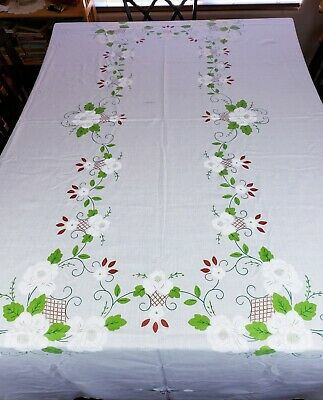 """Vintage Ivory Cream Tablecloth Painted Flower Details 70"""" x 100"""" Rectangle"""
