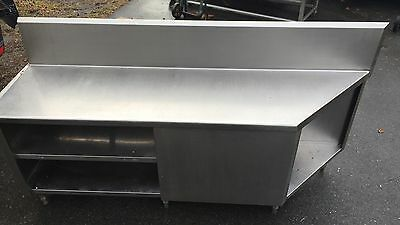 """Custom Made Heavy Duty Stainless Steel Cabinet Worktop Table With Shelves 82"""""""