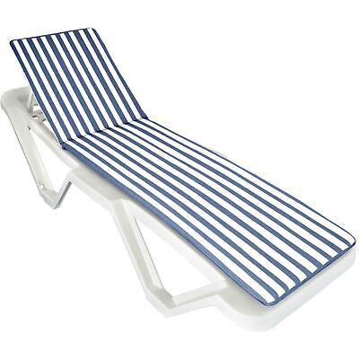 Blue / White Sunlounger Cushion Pad for Sun Lounger Garden Padded Patio Bed