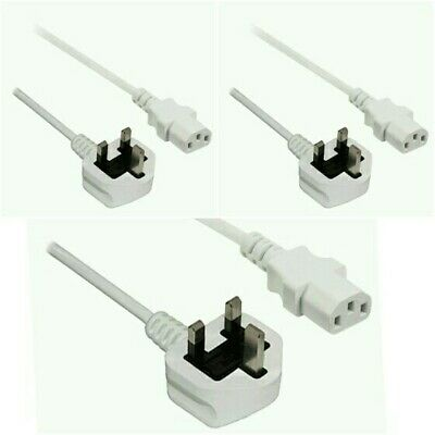 * X3 UK Mains to IEC C13 Kettle 2m Power Lead White Cable PC MONITOR 45:15