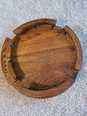 Tabletop Lazy Susan With Rail Vintage Solid Oak Wood Rotating 16 X