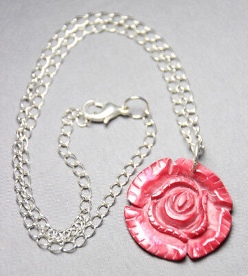 "Shell Rose Red 1.50"" Pendant Necklace Silver Rhodium Chain Flower 18"" Rose Bud"