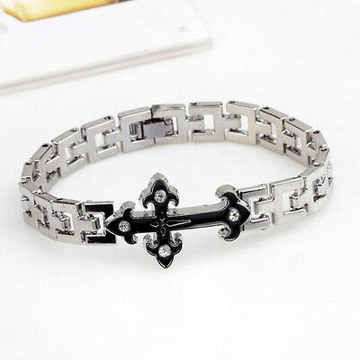 Men's Women Fashion Stainless Steel Wristband Cuff Bangle Crystal Cross Bracelet
