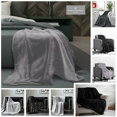 BLACK GREY & SILVER FAUX FUR Sofa Throw Fleece Warm/Cosy Large Sofa Bed Blankets