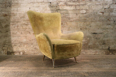 Italian Mid Century Luxurious Gold Chenille Arm Chair Vintage Antique Retro