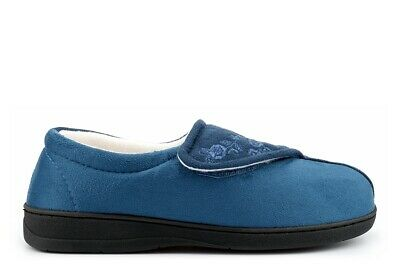 Womens Wide Fit Slippers Ladies Wide Fit Slippers E Fitting Velcro Memory Foam