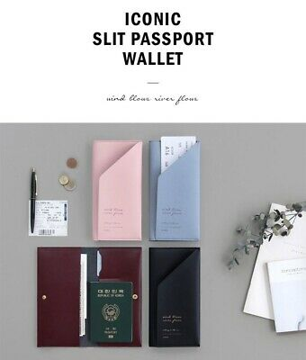 Iconic Passport Slit Wallet (L) Travel Organizer Boarding Pass Holder 4 colors