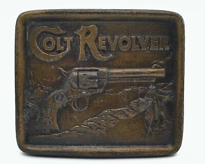 Vintage 1976 Indiana Metal Craft Brass Colt Revolver XR79 Belt Buckle