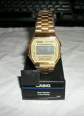 Casio A168WG-9 Gold-Tone Stainless Steel Casual Digital Men's Watch NEW