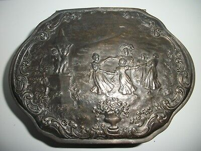 Antique Repousse Wilcox Silverplate Large Vanity Box~Children Playing Ring Rosie