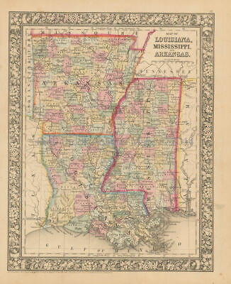 Louisiana Mississippi Antique Map Mitchell 1866 Original Ancestry Gift Ideas