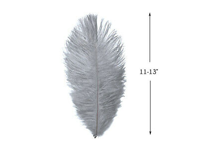 """10 Pieces - 11-13"""" Silver Gray Ostrich Dyed Drabs Feathers Costume Centerpiece"""