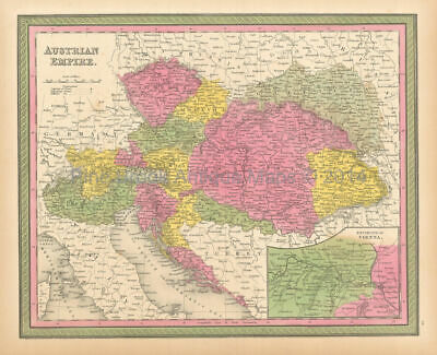 Austrian Empire Antique Map Original Austrian Decor Gift Ideas Mitchell 1846