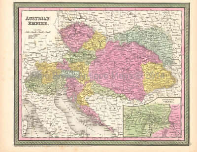 Austrian Empire Antique Map Original Austrian Decor Gift Ideas DeSilver 1854