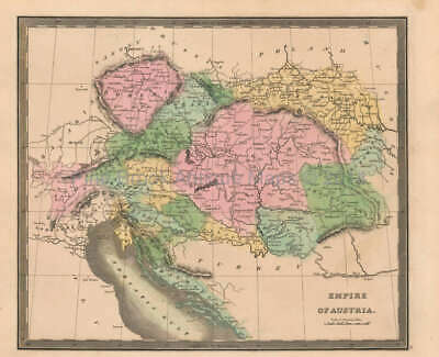 Austrian Empire Antique Map Original Austrian Decor Gift Ideas Greenleaf 1844