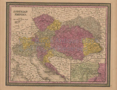 Austrian Empire Antique Map Original Austrian Decor Gift Ideas Mitchell 1852