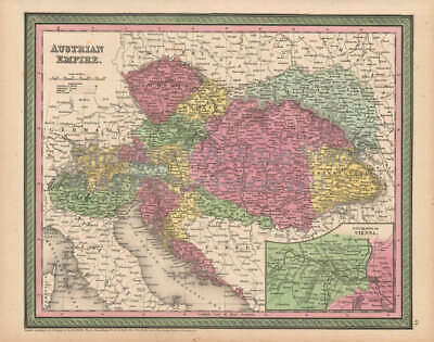 Austrian Empire Antique Map Original Austrian Decor Gift Ideas Cowperthwait 1853