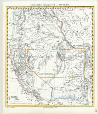 Western United States Antique Map Flemming 1850 Original History Gift