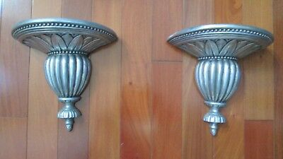 Pair Set of 2 Antique Silver Tone Finish Wall Sconces Hollywood Regency Art Deco