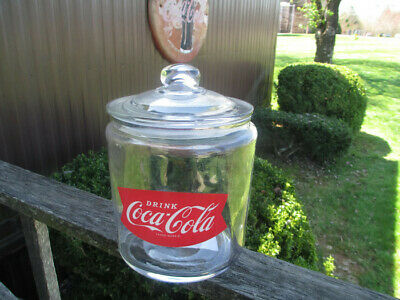 Coca-Cola Glass Round Apothecary Cookie Jar with Fishtail Logo  BRAND NEW