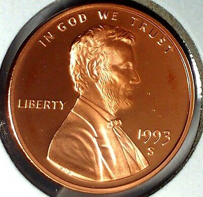 """1993-S 1C Lincoln Memorial Cent 17cl0401 """"Gem Proof""""  Only 50 Cents for Shipping"""