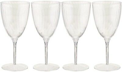 Hard Plastic One Piece 8-Ounce Wine Glasses, Clear, 8 Count