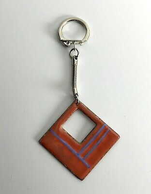 Vintage Pre 1995 Red Square Essex-Made Enamelled Metal Hand Made Unique Keyring