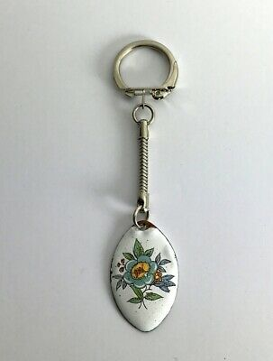 Vintage FLORAL DESIGN Essex-Made Enamelled Metal Hand Made Unique Keyring