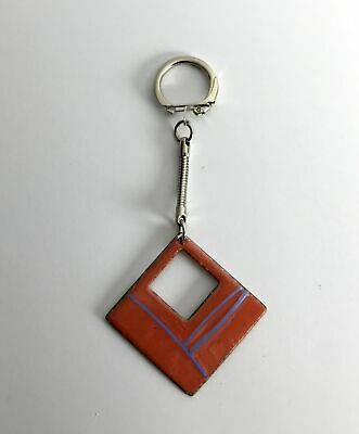 Vintage Pre 1995 Square Essex-Made Enamelled Metal Hand Made Unique Keyring