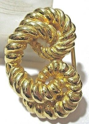 Mimi Di N Buckle Half Part Rope Signed Bright Gold Tone Signed 1974