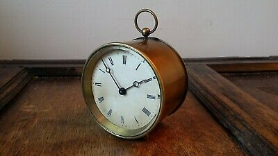 1890's Antique Brass Cased French Drum Clock 8 Day - Af Brevete Good Working Ord