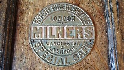 Antique Brass Milners Special Safe Plaque Plate - Good Condition