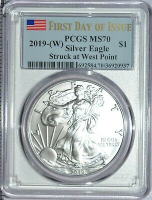 2019 (W) American Silver Eagle PCGS MS 70 First Day Of Issue Blue Flag Label