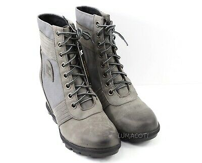 4c685d663f8 Womens Sorel Lexie Wedge Boots - Grey Waterproof Leather Size 8.5